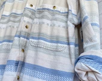 M/L vintage flannel shirt, tribal white, bride getting ready button down, serape cream and blue