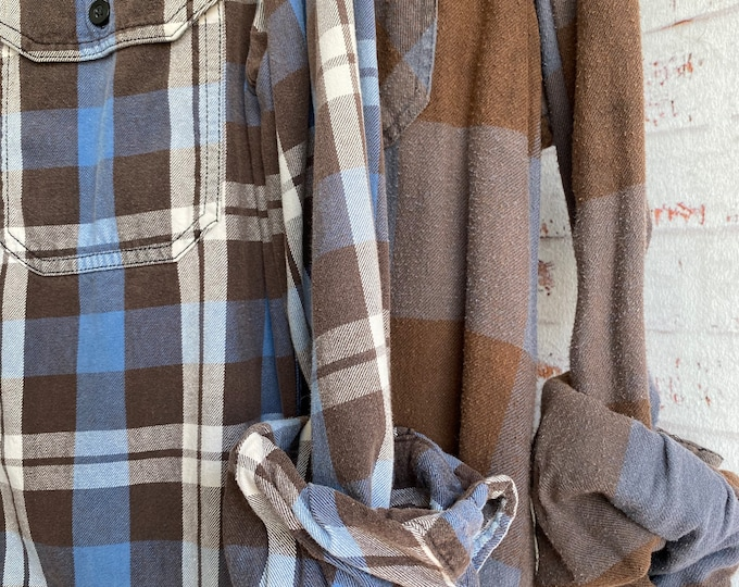Small vintage flannel shirts curated as a set of 2 in cocoa brown and dusty blue plaid