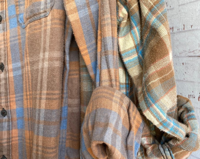 Small and XL vintage flannel shirt, set of 2, blue brown and peach plaid, couples shirts, matching flannels, fall