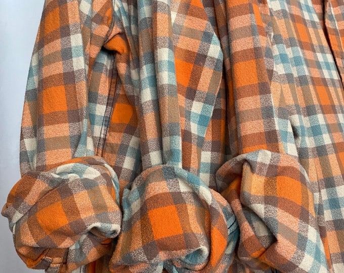 LARGE vintage matching flannel shirts curated as a set of 3, colors are orange lavender and dusty blue plaid, bridesmaids flannels