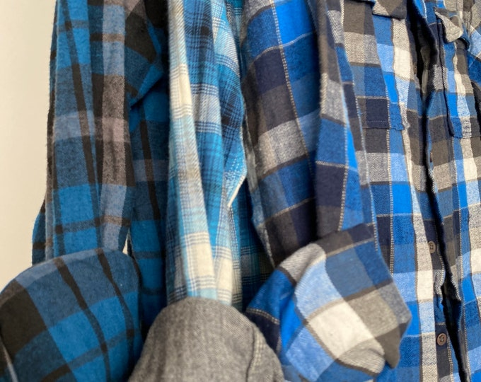 LARGE vintage flannel shirts curated as a set of 3 in royal blue, black and gray