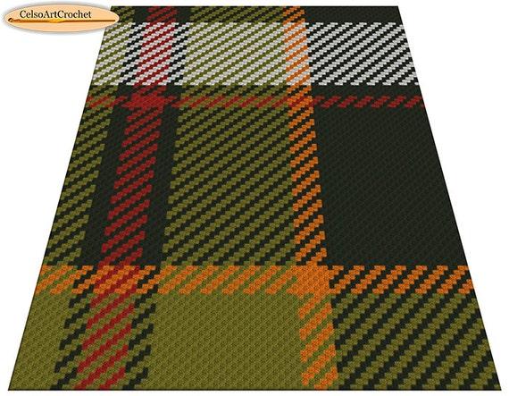 C2C Crochet Blanket or Rug Pattern, Tartan, Crochet Graph Pattern