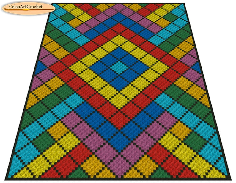 C2C Crochet Blanket or Rug Pattern, Geometric, Crochet Graph Pattern