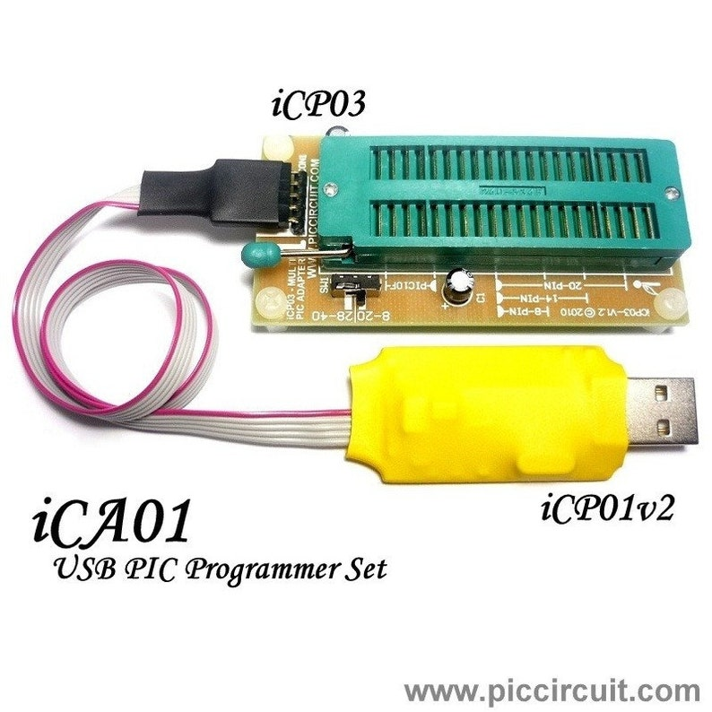 iCA01 - usb Microchip PIC Programmer Set (with Adapter, ICSP & PICkit 2 SW)