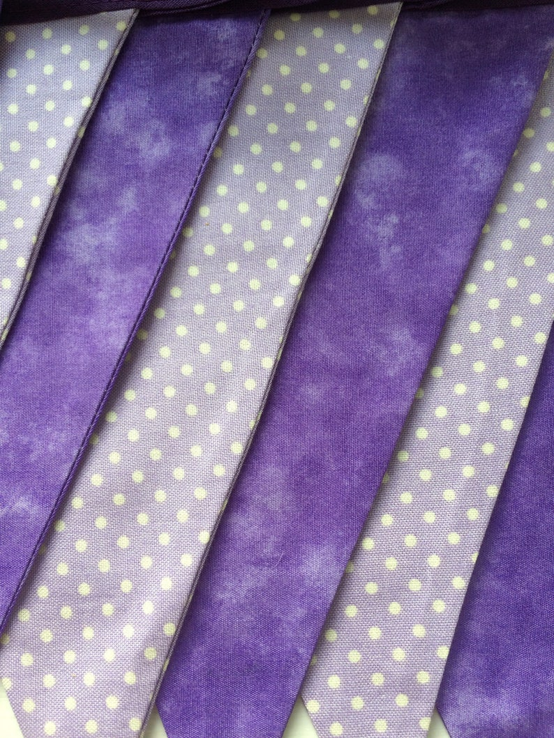 Purple Bunting, Spots, 2-4 metres, 100% Cotton Fabric, Double Sided