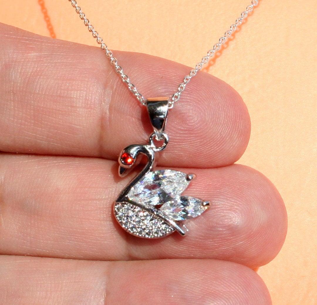 collier de cygne, pendentif cygne en cristal de Swarovski décoré avec CZ  Pierre, collier en argent sterling, collier mousseux