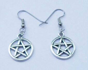 Pagan earrings Earth Goddess earrings Witch earrings Azurite earrings Witchy Wiccan earrings Azurite Pentacle Earrings Gaia earrings