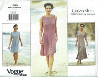 Calvin Klein Pattern Vintage Vogue 1589 Original Uncut S8-10-12 1990s Original [PWAP-0201]