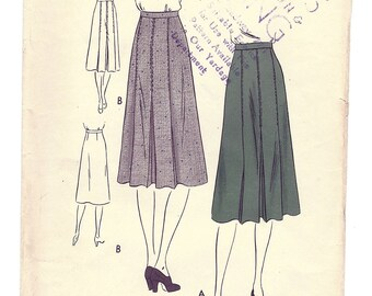 Vintage Vogue Pattern V-8472 Pleated Skirt W28 1940s [PWAP-0118]