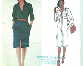 Vintage Calvin Klein Vogue 2441 - Shirtdress - Pattern Original Uncut 1980s [PWAP-0302]