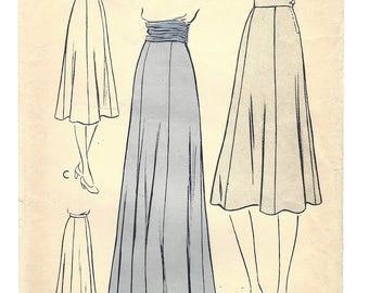 Vintage Pattern Vogue 8383 Flared Skirt W28 1954 [PWAP-0143]