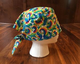 Rainbow Tye-Dye Dog Bones & Paws Scrub Hat