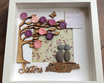 Pebble Art Sisters Sister Gift Birthday For Her Pebbleart Box Frame Wall Christmas