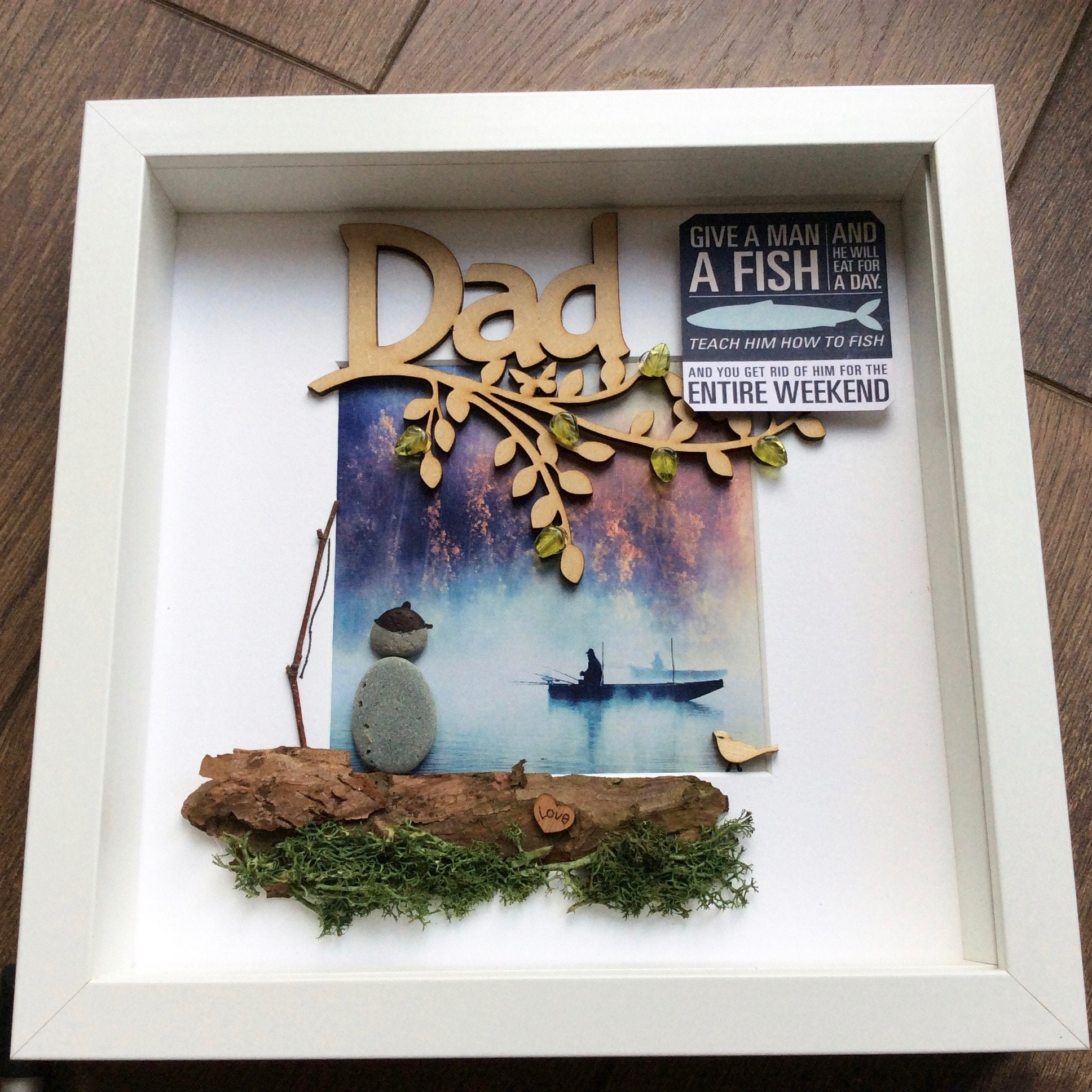 Pebble Art Fishing Fathers Day Gift For Him