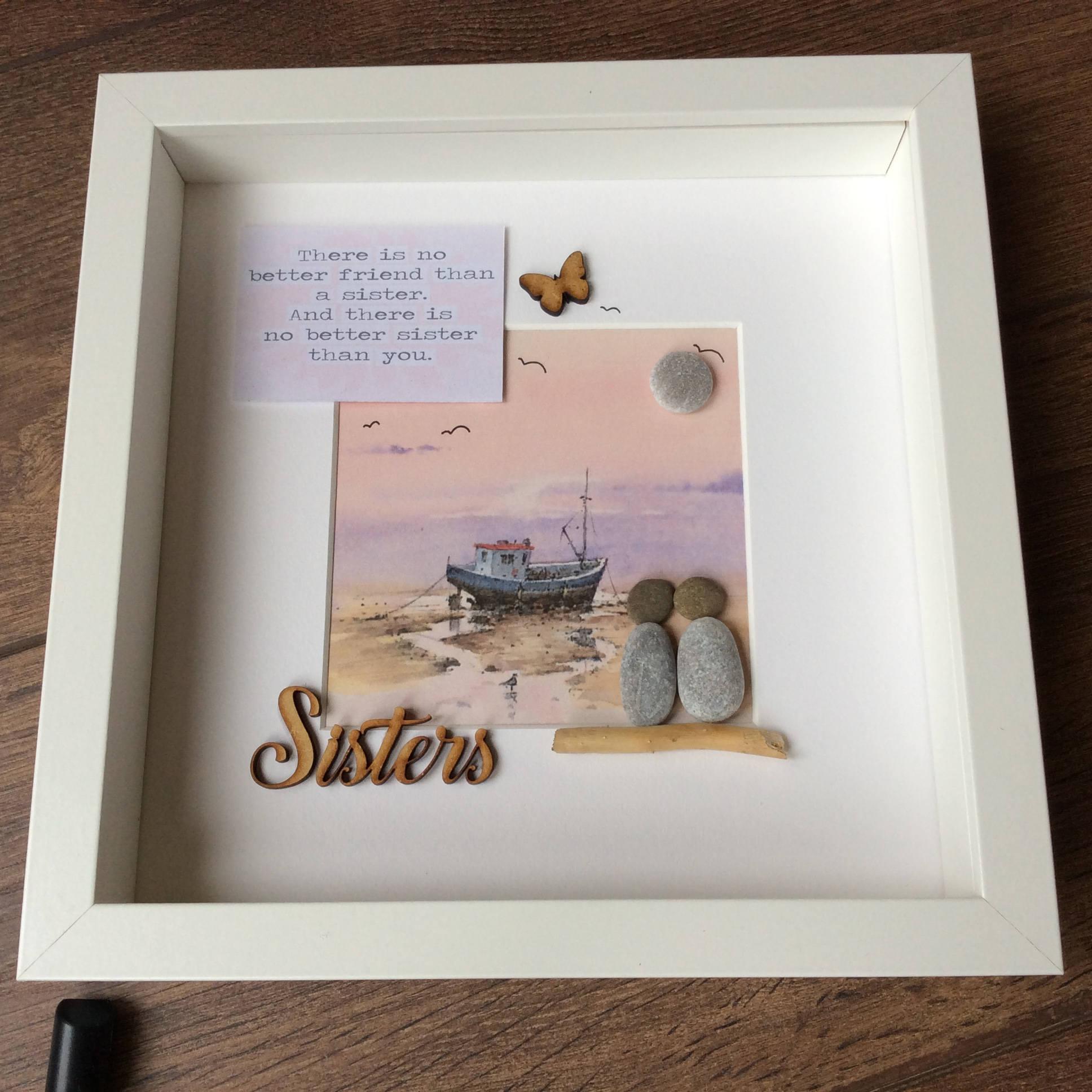 Pebble Art Sisters gift for her gift for sister wall art   Etsy