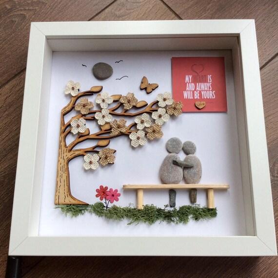 Pebble Art Wedding Gift For Him Gift For Couple Wall Art