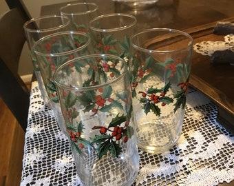 Six Anchor Hocking patrimoine Holly Tumbler. Houx de Noël et les verres de  Berry. 308a7a5bbb6