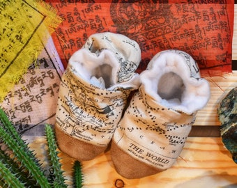 Map Baby Shoes, World Atlas