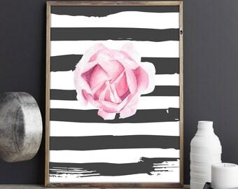 Pink rose digital print - flower print - rose printable - rose watercolor print - pink rose art - botanical poster - printable decor #p13