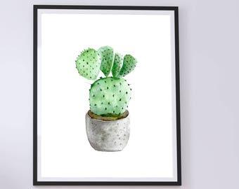 Watercolor cactus print - watercolor digital download - digital wall art - cactus printable art - cactus wall art - cactus watercolor #p26