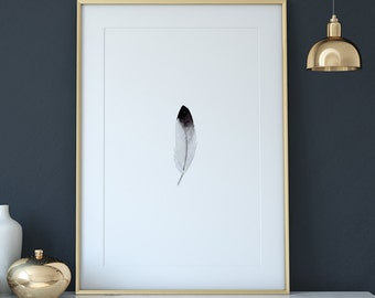 Minimalist watercolor digital print - minimalist feather art, black and white print, minimalist home decor, feather watercolor art print #p8