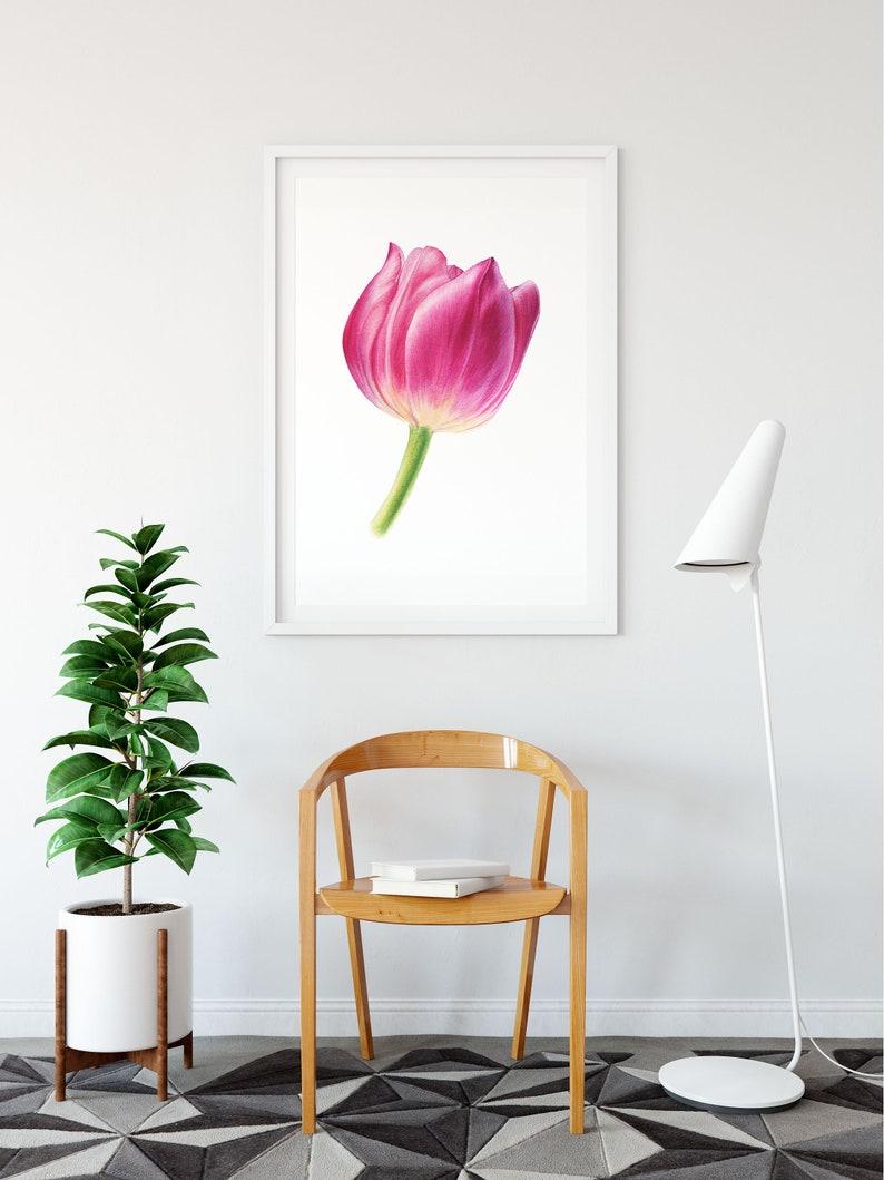 Pink Tulip Printable Wall Art Digital Download Spring Print Etsy