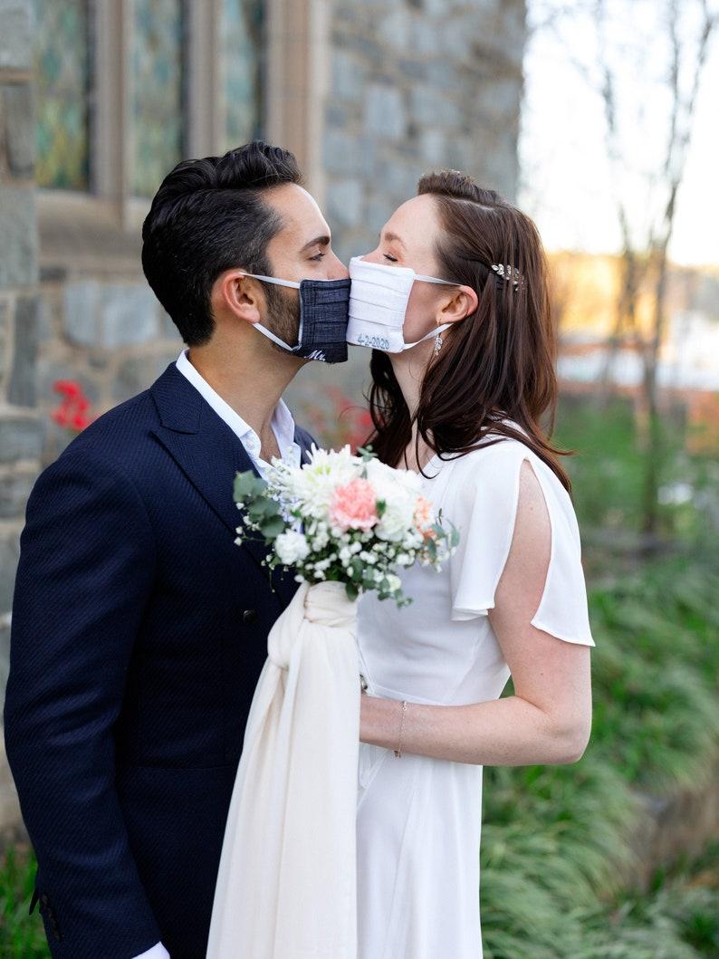 Quarantine Wedding Face Masks 2020 Bride Groom//Wedding image 0