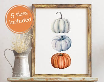 Watercolor Pumpkin Digital Print / Printable Fall Art / Wall Decor / Digital Art / Fall Harvest / Thanksgiving Decor / Pumpkins / Halloween