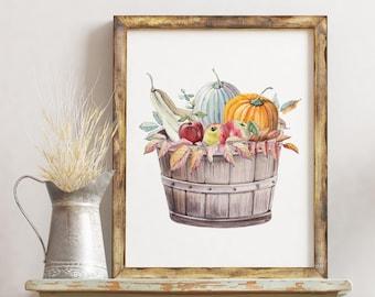 Fall Harvest Printable / Autumn Print / Fall Print / Harvest Print / Autumn Art Print / Harvest / Pumpkin Printable / Fall Leaves Printable