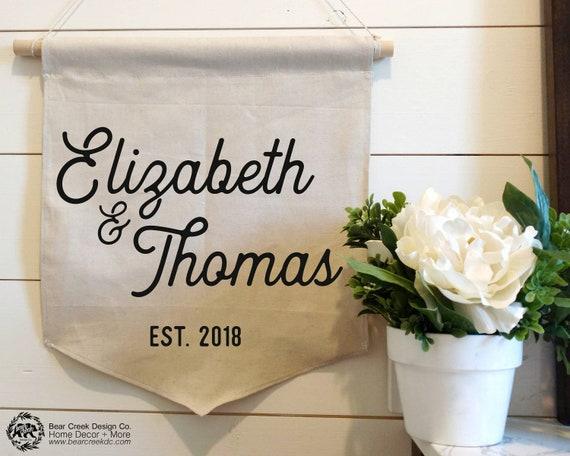 custom wedding banner gift couples names est wedding sign etsy