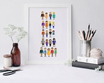 Custom Family Illustration • Extended Family Portrait  • Family Gift • Canvas Family Portrait Personalized Gift • Custom Family Tree
