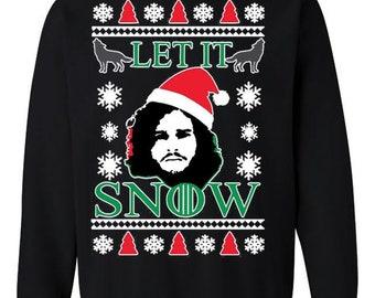 Let It Snow GoT Jon Snow Ugly Christmas Sweater Unisex Crewneck Sweatshirt