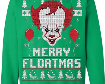 Merry Floatmas   Clown   Mens Ugly Christmas Crewneck Graphic Sweatshirt