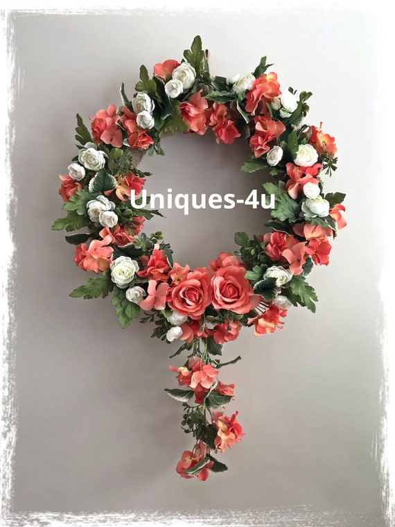Coral color spring everyday wreath silk flowers spring etsy image 0 mightylinksfo