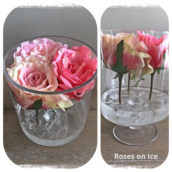 Floral Arrangement Roses On Ice Silk Flowers In Water Etsy