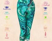 HEART CHAKRA YOGA capris leggings, yoga, leggings, chakra leggings, yoga, workout, fitness, wearable art, art wear, yoga fashion, yoga styl