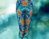 STARFISH YOGA CAPRIS leggings, yoga, leggings, chakra leggings, yoga, workout, fitness, wearable art, art wear, yoga fashion, yoga styl