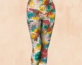 FABULOUSLY FLORAL YOGA capris leggings, leggings, art leggings, yoga, workout, fitness, wearable art, art wear, yoga fashion, yoga styl