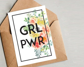 Feminist Wall Art - Instant Download 5x7 card 8x10 - girl power - resist - a womans place is in the resistance