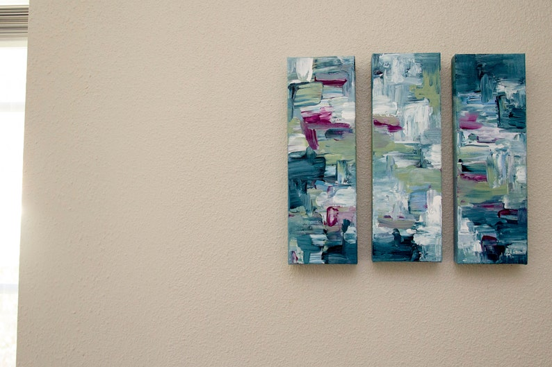 Set of 3 Hand Pained Art Canvas Painted Wall Art Abstract Triptych Paintings Acrylic Paintings Home Decor Original Wall Art