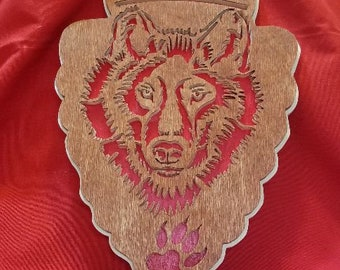 This is a handmade Wolf Plaque or Wall Hanging. Scroll Saw Art