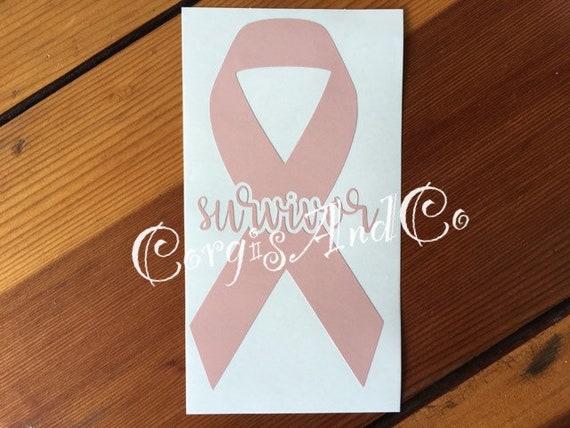 Peach Uterine Cancer Ribbon Vinyl Decal Sticker