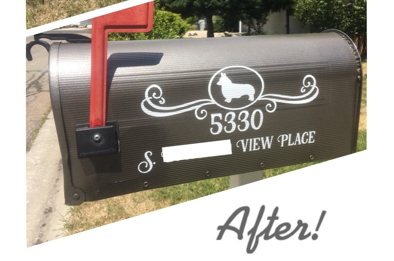Custom Mailbox Decoration With Personalized Street Number And Address Vinyl Decal Sticker Sealyham Terrier or Sealy Dog