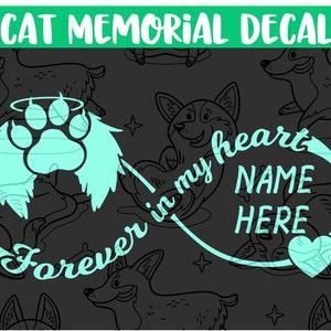 Dog Memorial Forever In Our Hearts Sticker Corgi Memorial Decal Rainbow Bridge Vinyl Decal Laptop Car Truck Bumper Window Sticker