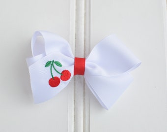 Embroidered Cherry Classic Bow