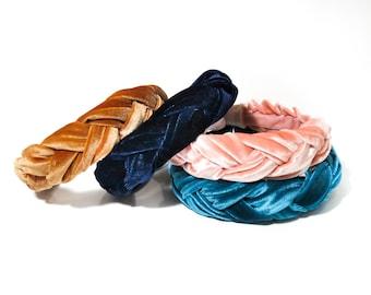 Braided Velvet Headband *Smaller Version*  - Mustard / Pink / Blue / Brown / Adult / Black / Copper - Thick  / Woman / Girl/ Baby