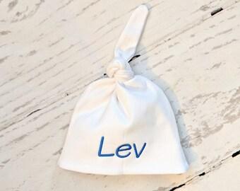 Newborn Hat, Monogram Newborn Hat, Personalized Baby Hat, Baby Knot Hat, Newborn Hospital Hat, White Baby Hat, Baby Boy Hat, Girl Baby Hat