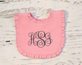 Girls Monogram Bib, Monogram Bib, Ruffle Monogram Bib, Personalized Bib,  Baby Girl Bib, Embroidery Bibs, Girls Bibs, Pink Bibs, Drool Bib ef726babb9