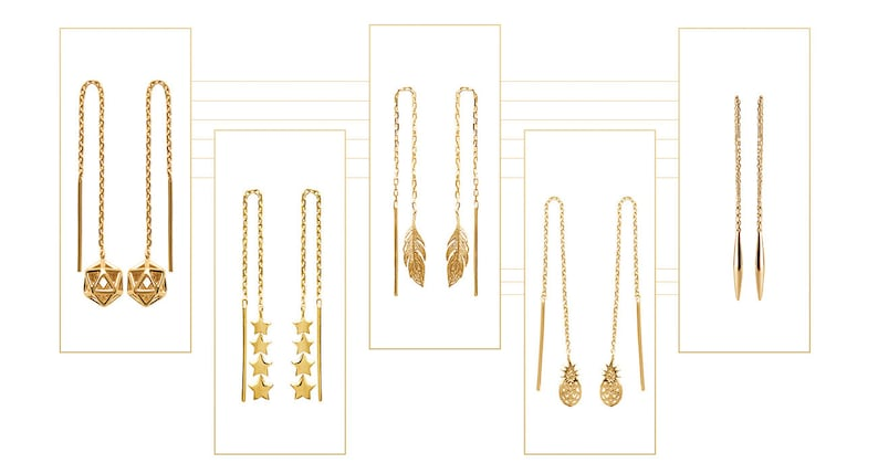 Ship Worldwide 18K Gold Plated Over Sterling Silver Long Chain Threader Earrings Free USA Shipping Made in France