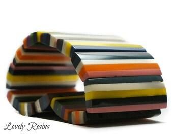 resin casting color splash  Multicolor Expandable Stripes Bracelet Resin Bangle